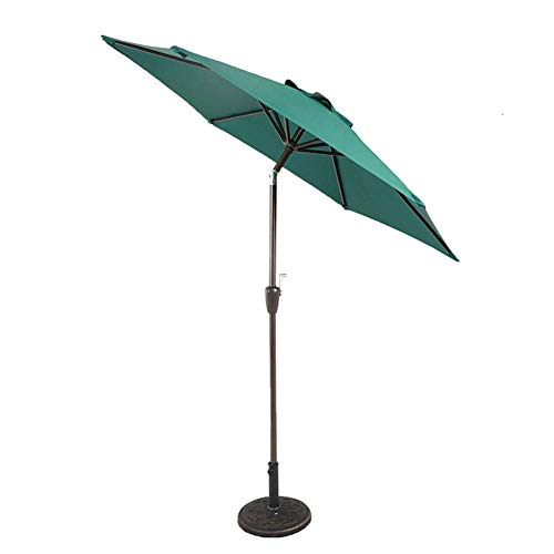 NMDD Parasols 7ft Patio Steel Powder Coated Umbrella - Crank and Push Button Tilt Umbrella for Outdoor, Garden and Yard (Color : Dark green)