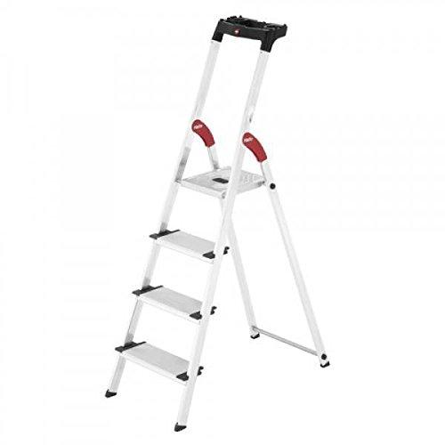 Hailo 0005259 Modelo XXL Escalera de Seguridad, Fabricada en Aluminio, Escalones Extra Profundos incluye Bandeja Multiplicación, Versión de 4 Peldaños