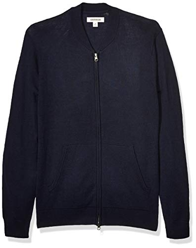 Amazon Brand - Goodthreads Men's Lightweight Merino Wool/Acrylic Bomber Sweater, Navy Medium