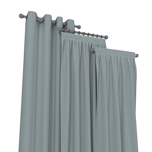 Market-Alley Vorhänge 2er Set Vorhang für Kinderzimmer Schlafzimmer Wohnzimmer Elegant Gardine mit Ösen/Taschenband/Kräuselband (121 Grau ; mit Kräuselband ; 135cm x 175cm)