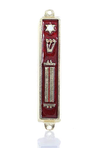 """Gold plated Mezuzah Mezuza Red Case 7cm-2.7"""" Judaica Jewish 10-comments Israel by body-soul-n-spirit"""