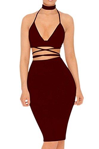 buenos comparativa Vestido de fiesta mujer conjunto de 2 piezas verano sexy bodycon bodycon vendaje sin mangas … y opiniones de 2021