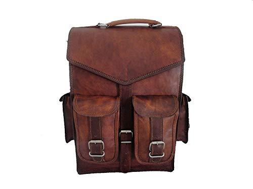 { ABHI by LBC } 15' Mens Vintage Leather Laptop Backpack Shoulder Messenger Bag Rucksack Sling for 2 in 1 Purpose