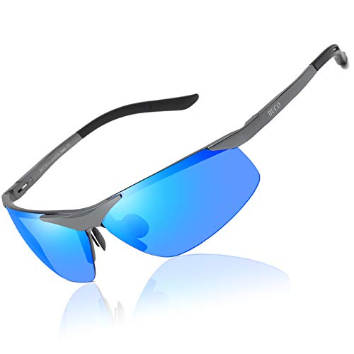 Duco Sport Stil Sonnenbrille Polarisiert Herren Treiber Brille 6806S (Gunmetal/Blau)