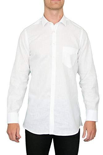 Centerline Herren Premium Hemd aus Leinen, Made in EU, Langarm (weiß, L (41/42))