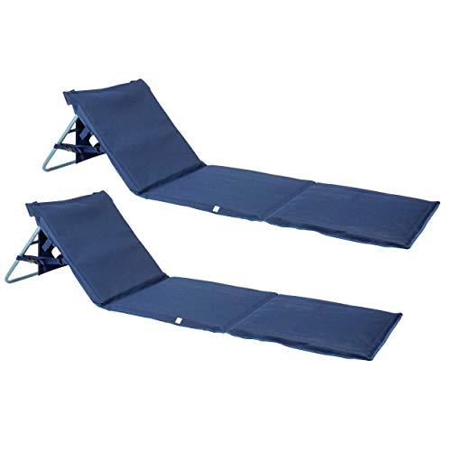 ONVAYA Premium Strandmatte 2cm gepolstert mit Rückenlehne | Strandliege faltbar | Strandmatratze dunkelblau | Sonnenmatte mit Tragegurt | 161 x 55 x 45 cm (2 Stück)