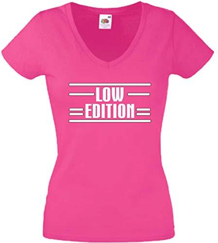 JINTORA T-Shirt - Chemise Femme Rose - V-Cou - Taille M - édition Basse - JDM/La Coupe - pour la fête Carnaval Travail et Loisirs