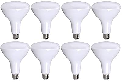 8 Pack Bioluz LED BR40 Dimmable LED Bulb 100W Replacement (Uses 13W) 2700K Warm White 1050 Lumens UL Listed (Pack of 8)