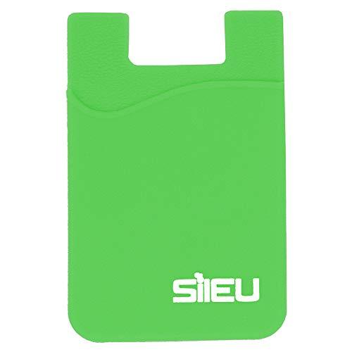 Bolsillo de Silicona Multiusos Portatarjetas con Adhesivo 3M para Movil y Cartera - Compatible con Todos los Modelos de Smartphone e iPhone - Color Verde