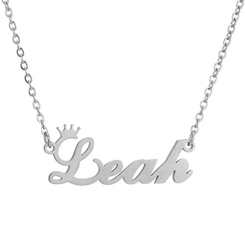 Personalized Name Crown Necklace,Customized Script Initial Women Girl Nameplate Charm Crown Necklace Stainless Steel Pendant Necklace Chain Jewelry Gift for Boy Leah-Silver