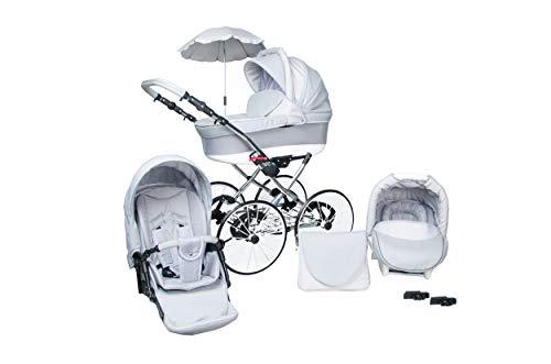 Lux4Kids Classico Retro cochecito deluxe parasol 27'neumáticos con radios sin pinchazos Heaven Grey 03 3en1 con asiento