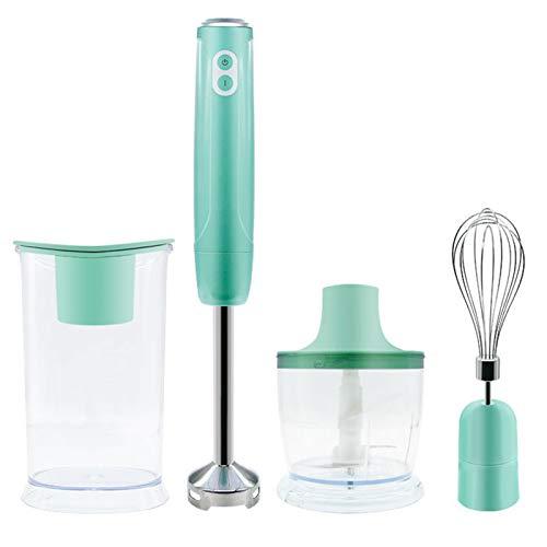 DHHZRKJ Eingetauchter Stabmixer, 4-in-1-Stabmixer für Babynahrung, Smoothies, Sojasauce und Suppe, Edelstahl 304, BPA-frei,Grün