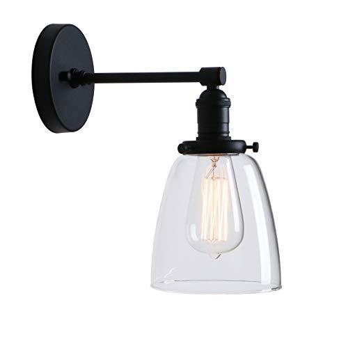 Phansthy innen Modernes klarglas Deckenglocken Wandbeleuchtung Wandleuchten Vintage Industrie Loft-Wandlampen Antik Deko Design Wandbeleuchtung Küchenwandleuchte (Schwarz Farbe)