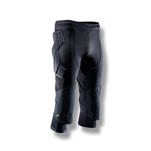 Storelli ExoShield Goalkeeper 3/4 Pants 2.0 | 3/4-Length Padded Soccer Pants | Premium Hip and Knee Protection | Black | Small