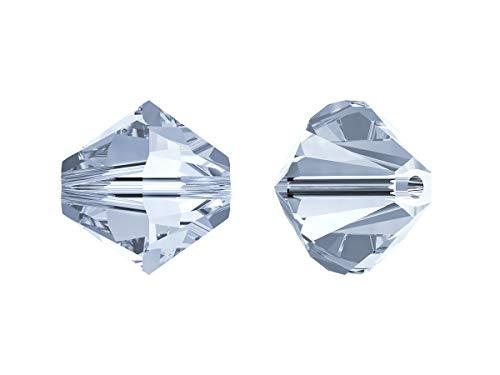 Xilion Swarovski Beads, Bicone 5328, 4mm, 18 Piezas, Cuentas de Vidrio facetadas en la Forma de Cono Doble (Linterna), Crystal Blue Shade (Transparent Pale Blue Iridescent)