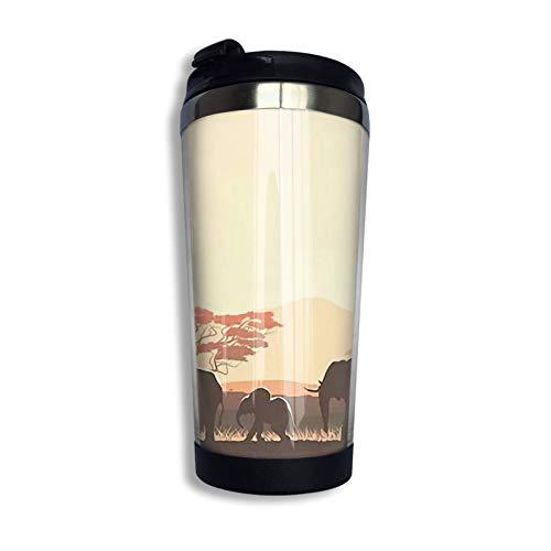Vaso de acero inoxidable con tapa Vaso colorido con aislamiento al vacío Vaso Taza de café de agua de doble pared Im Wald
