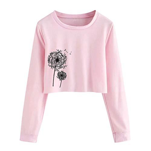 Leewos Womens Dandelion Printed Long Sleeve Short Solid Sweatshirt Pullover Blouse(Pink,S)