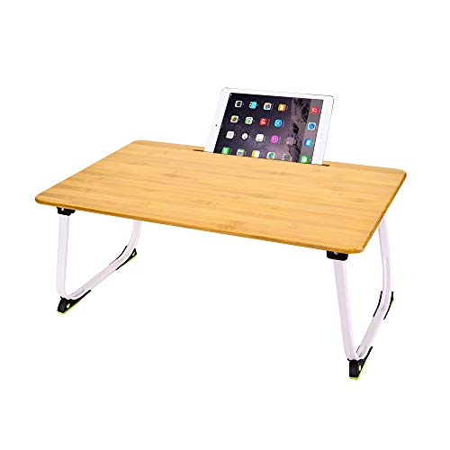 Hoteck Laptoptisch, Große Betttisch Laptop Tisch für Bett, Bambus Notebooktisch Faltbarer Schreibtisch Lapdesks für Lesen oder Frühstücks und Zeichentisch Laptops(60 x 40 cm)