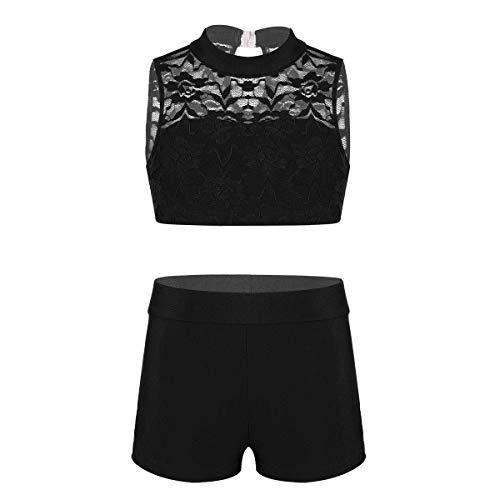 Tiaobug Mädchen Sport Anzug Set Tanz Sport Outfits Gymnastik Turnen Fitness Workout Yoga Zweiteiler Sportbekleidung Schwarz 140/10Jahre