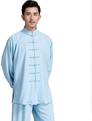 Mr. Hao Traje de Tai Chi Traje de Meditación Zen Estilo Chino Clásico Color Sólido Ropa de Kung Fu El Traje Tang No Se Desvanece Adecuado para Hombres,Blue-XL