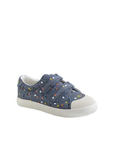 Vertbaudet Mädchen-Sneaker, gestreift, Leinen, bedruckt, Blau mit Punkten 35