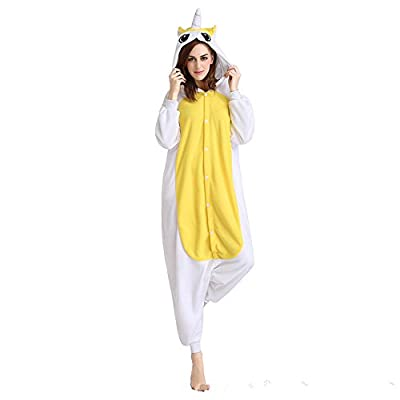KiKa Monkey Niños Unicornio de Dibujos Animados de Franela Animal Novedad Disfraces Cosplay Pijama (XL, Yellow-Wing)