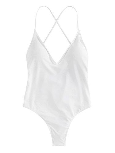 SOLYHUX Bikinis Mujer Traje de Baño Bañador De Una Pieza Sexy Bikini De Corbata De Color SóLido Ropa De Playa Bañador