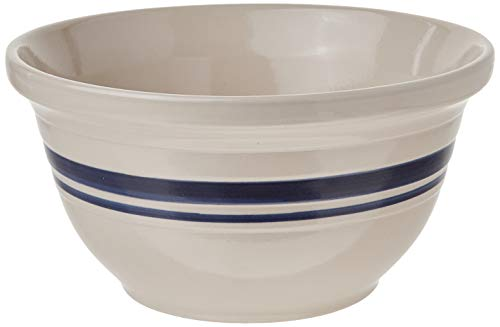 Ohio Stoneware 12 in. Dominion Mixing Bowl- Ceramic Bristol With Navy Stripe