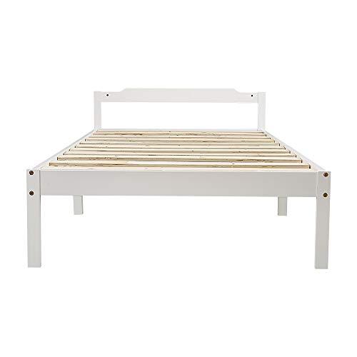 Hui, struttura letto semplice ed elegante, bianco liscio + struttura letto singolo in legno massello con impiallacciatura di alta qualità di pino giallo