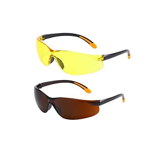 SaNgaiMEi 2 Piezas Gafas de Ciclismo Hombre Mujer Gafas de Sol para Ciclismo Bicicleta Running Deportes Protección UV 400 Anti Viento ✅
