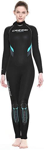 Cressi Castoro Lady Monopiece Wetsuit Traje Monopieza de Buceo Neopreno 7mm High Stretch para Mujer, Women's, Negro/Aguamarina, M/3