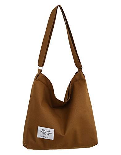Covelin Women's Retro Large Size Canvas Shoulder Bag Hobo Crossbody Handbag Casual Tote Brown