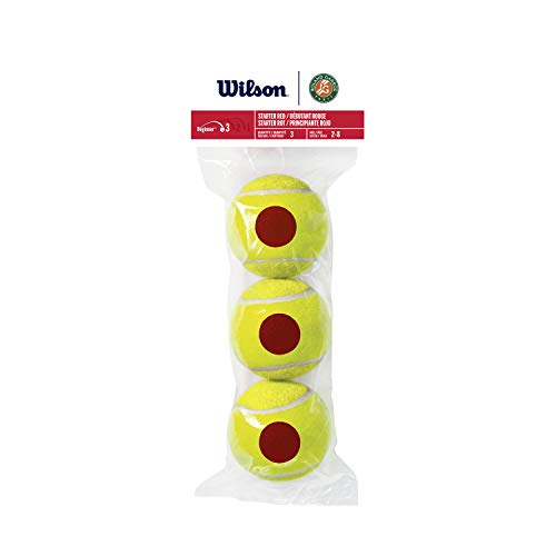 Wilson Tennisbälle für Kinder, Tennis 10s, Phase 3, Roter Ball für Anfänger, Set mit 3 Bällen, WRT147600
