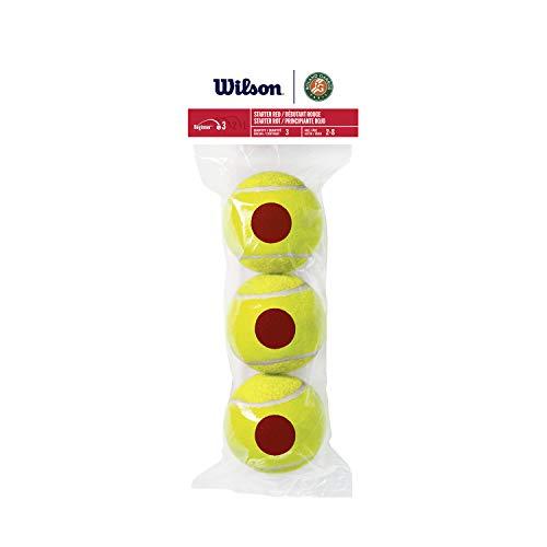 Wilson Tennis 10s, WRT147600 Tubo con 3 Palline da Tennis per Bambini, Fase 3, Principiante Rosso
