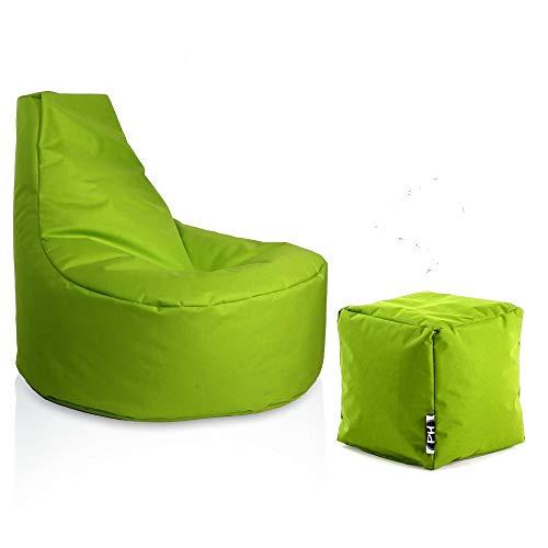 Patchhome Gamer Sessel inkl. Würfel Bean Bag Set Ø75cm, 30cm Sitzhöhe, 80cm Höhe + 35x35cm Würfel Kiwi