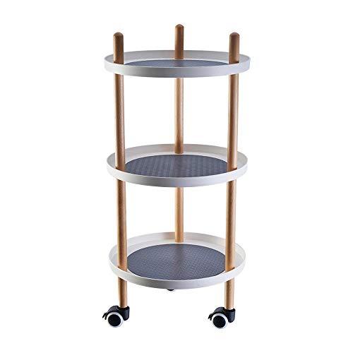 HUANXI 3-Etagen Rollregal Küche mit Rollen,Weiß Plastik Werkstattwagen für Küchenbüro Home Utility Griff Zubehör