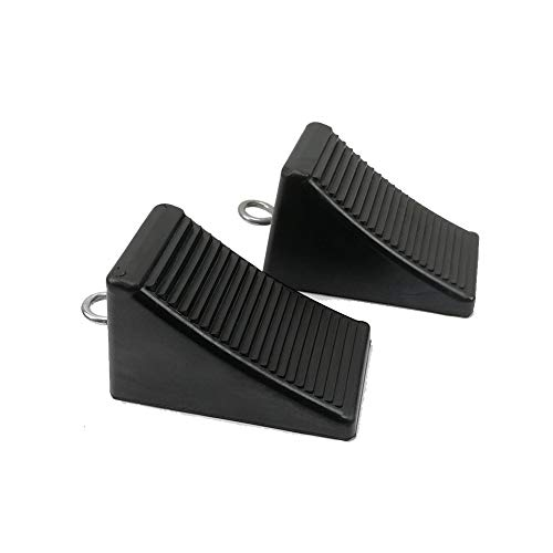 ROBLOCK 2 Pack Rubber Wheel Chocks Black Wheel Wedge with Eyebolt, 7.8' Length x 3.5' Width x 3.9' Height