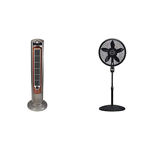 """Lasko Portable Electric 42"""" Oscillating Tower Fan, Silverwood T42954 & 1843 18″ Remote Control Cyclone Pedestal Fan with Built-in Timer, Black Features Oscillating Movement and Adjustable Height"""