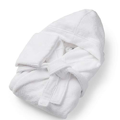 SOHYGGE – Peignoir de bain homme, 100% Coton Éponge 450gr/m2, Écologique sans Produit Chimique Oeko-TEX – Peignoir homme capuche doux et absorbant (M, Blanc)