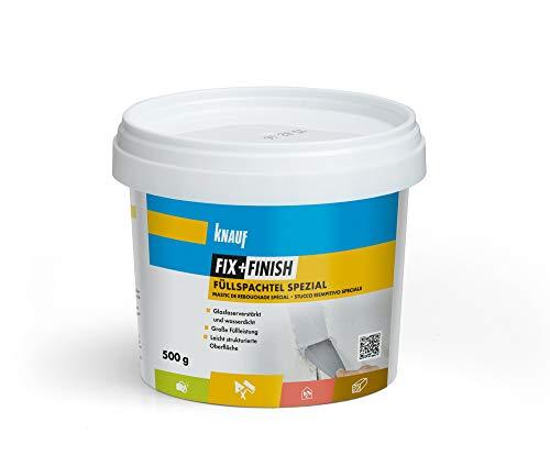 Knauf 593749 Füllspachtel FIX + FINISH Spezial zum Füllen von Spalten und Rissen mit mäßigen Bewegungen – elastische Gips-Spachtel mit hoher Elastizität, licht-grau, 500-g, 500 g