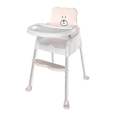 NSWDC Bebé Ajustable Chair,Baby Silla Alta/con Bandeja Doble removible y 3 Puntos de Seguridad/Ergonómica/Cómoda/Fácil de Limpiar,Blanco