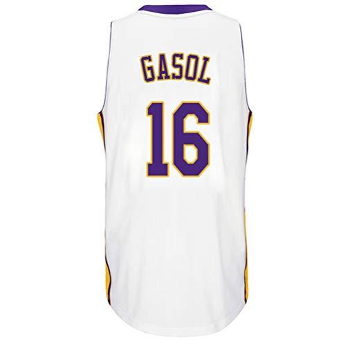 Rencai PAU Gasol # 16 Jersey de Baloncesto de los Hombres, Jerseys sin Mangas Lakers Alero Deportes Retro Los Ángeles Camisa (Color : 11, Size : XL)