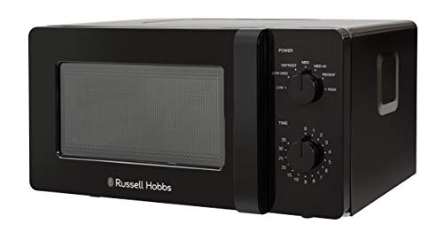 Russell Hobbs RHM1401B 14 L 600 W Black Small and Compact Manual Microwave with 6 Power Levels, Automatic Defrost, Dial Control and Easy Clean, for Caravan and Home