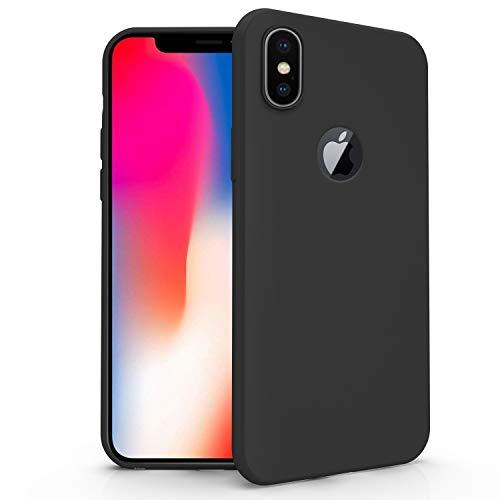 N NEWTOP Cover Compatibile per Apple iPhone X, Custodia TPU Soft Gel Silicone Ultra Slim Sottile Flessibile Case Posteriore Protettiva (Nero)