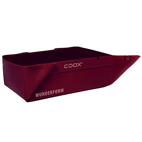 coox WUNDERFORM S in Dunkelrot, die erste faltbare Kastenform, platzsparende Backform aus hochwertigem Silikon