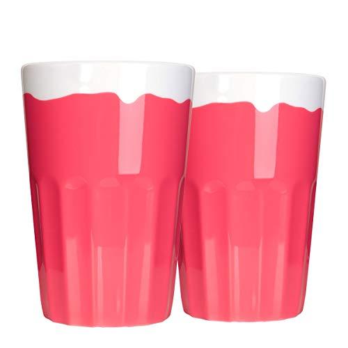 Mahlwerck Candy-Rim Kaffeetasse, Porzellan Latte Macchiato Becher, Pink Candy-Look, 400ml, 2er Set