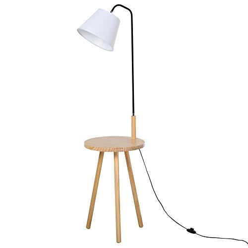 HOMCOM Stehlampe für Wohnzimmer, Standleuchte, Stehlampe, Bogenleuchte mit Holz Tisch, Skandinavischer Stil, Stahl, Weiß, 42 x 42 x 144 cm
