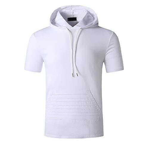 SSBZYES Camisetas para Hombre Camisetas De Manga Corta con Capucha para Hombre Sudaderas con Capucha De Verano para Hombre Tops Casuales Código Europeo Moda Color Sólido Camisetas De Algodón
