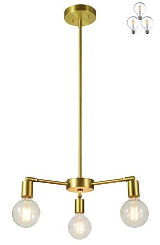 XiNBEi Lighting Candelabros, iluminación colgante de latón de 3 luces con bombillas LED para cocina y comedor XB-C1211-3-SB