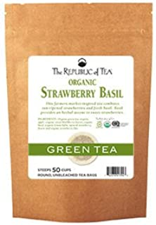 The Republic Of Tea Organic Strawberry Basil Green Tea, 50 Tea Bags (Refill Bag)